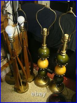 Pair Vintage Mid Century Modern Danish Style Wood Lamps Tall Sculptural Bentwood