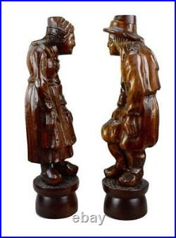 Pair of Antique French Breton Figural Wood Carving Columns Corbel Statue