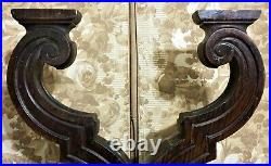 Pair scroll groove carving corbel bracket Antique french architectural salvage