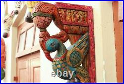 Peacock Wall Corbel Bracket Pair Wooden Statue Home Decor Sculpture Vintage Rare