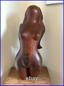 Pedro Pereira Vintage Sculpture Wood Carving Female Nude Torso Abstract Modern