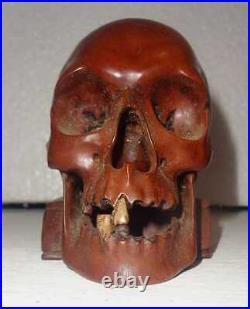 Quailty Life Size Vintage Memento Mori Hard Wood Skull On Book Carving