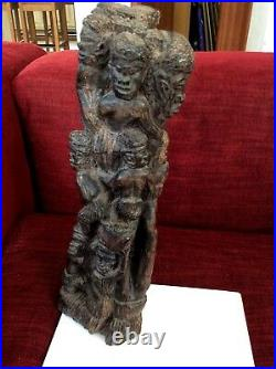 Quality Large Vintage African Wood Carving Statue, Multi Figurine, 14.4