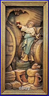 RARE Carl Spitzweg Antique ANRI Wood Relief Carving Kellermeister Wine Cellar