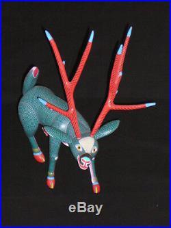 RARE Large Deer VINTAGE Oaxacan Alebrije Wood Carving by JOSE HERNANDEZ