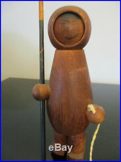 RARE Vintage ARNE TJOMSLAND Teak Wood ESKIMO FIGURINE Norway FISHERMAN SCULPTURE