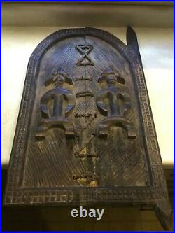 RARE Vintage IGBO TRIBE DOOR / WINDOW African Wood hand Carving 32 inches X 16