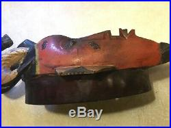 RARE Vintage IGBO TRIBE HORN MASK Gazelle / impala African Wood hand Carving