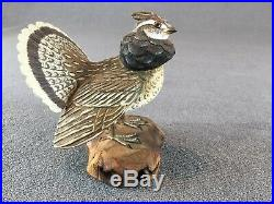 RUFFED GROUSE ORIGINAL WOOD CARVING hunting game bird duck decoy miniature