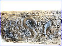 RUSTIC Carved Wood Buddha Wall Panel Yoga Studio Spiritual Sculpture CLEARANCE