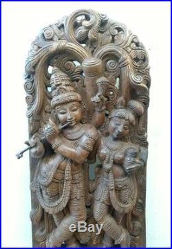 Radha Krishna Sculpture Hindu God Krsna Statue Wall Wooden Panel Vintage Decor U