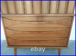 Rare MCM Curved Front Sculptural Walnut Wood Drawer Pulls Tall Chest Dresser Vtg