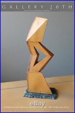 Rare! MID Century Modern Art Cubist Abstract Sculpture Brutalist Henry Moore Vtg