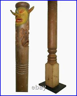 Rare Mid-20th C Vint American Folk Art 55 4-sided Face, Tiki Carved Porch Post
