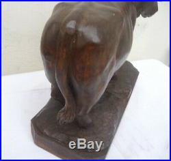 Rare Vintage Black Forest Carving Nicely Detailed Cow On A Wooden Base