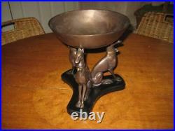 Rare Vintage Bronze Metal Whippet Italian Greyhound 3 Dog Bowl Stand Centerpiece