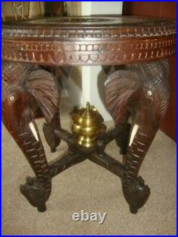 Rare Vintage Inlaid Rosewood Hand Carved Anglo / Indian Wooden Elephant Table
