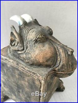 Rare Vintage Oddity Curiosity Monkey Figure Pottery Trinket Box Case Sculpture