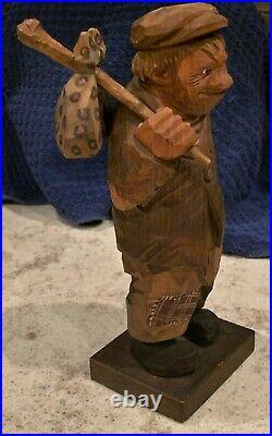 Rare Vintage Signed Carl Trygg Swedish Folk Art Wood Carving