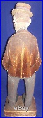 Rare Vtg Signed Carl Johan CJ Trygg Carving Hobo 11 Hand Carved Folk Art 1930's
