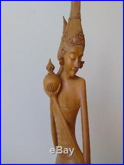 Rare vintage Beautiful Balinese Girl wood carving, Good condition, 20x5