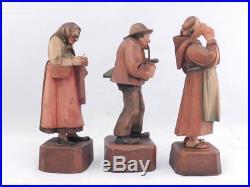 RareVintage Set of 3 VillagersANRI Wood CarvingSculptureKatharina Kaslatter