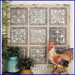 Rustic Distressed Vintage Metal Wood Wall Panel Plaque Art French Style Decor