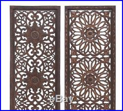 Rustic Set/2 Elegant Moroccan Pattern Vintage Indian Decor Wood Wall Art Panel