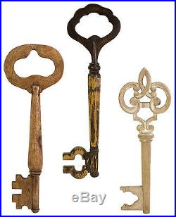 Rustic Set of 3 Large Country Wall Keys Mango Wood Dimensional Sculpture 20-24