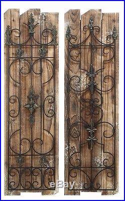 Garden Gate Wood Metal Wall Panel