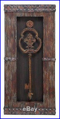 Rustic Vintage Old World Wood Metal Set/2 Antique Keys Wall Panel Plaque Decor
