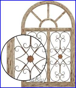 Rustic Wood & Metal Arched Window Wall Art Sculpture withVintage Iron Scrollwork