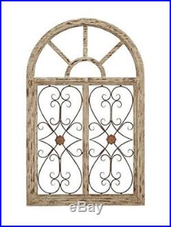 Rustic Wood Metal Arched Window Wall Art Vintage Iron Scrollwork Sculpture New