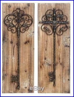 Rustic Wood Vintage Metal Scrolling Garden Gate Keys Wall Panel Set/2 Home Decor