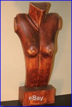 STORE COUNTER FEMALE WOOD TORSO mannequin statue sculpture ART DECO VINTAGE OLD