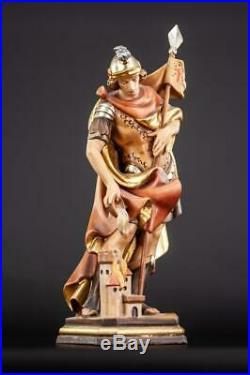 Saint Florian Wooden Sculpture Wood Carving St Firefighters Vintage Statue 14