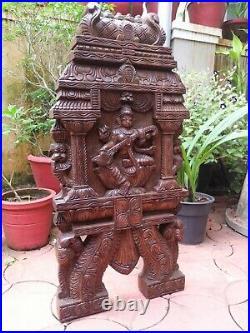 Saraswati Statue Wall Panel Kavadi Wooden Temple Gopuram Sculpture Vintage Decor