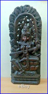Saraswati Vintage Wooden Sculpture Panel Hindu Goddess Saraswathy Statue Murti
