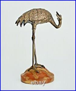 Sarreid LTD Spain Vtg Mid Century Modern Wood Brass Bronze Crane Bird Sculpture