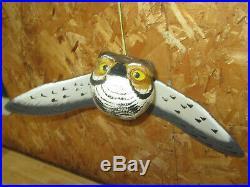 Screech Owl Wood Carving Casey's Flyers Birds of Prey Decoy Casey Edwards