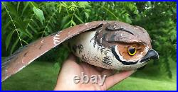 Screech Owl Wood Carving Signed Casey Edwards Wisconsin Decoy