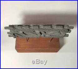 Sculpture Mid Century Modern Vintage Metal Brutalist Abstract Wood Base