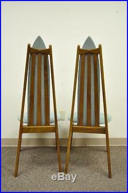 Set of 4 Vintage Mid Century Modern Sculptural Walnut Dining Chairs Danish Style