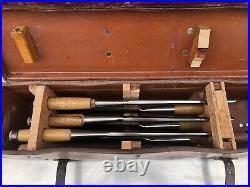 Set of 6 Vintage L. I. & J WHITE Wood Carving Chisels Lot Gouges OLD Case