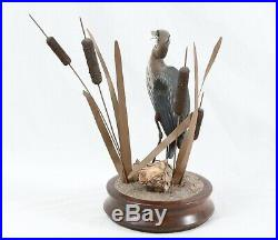 Signed GLM Vintage Great Blue Heron Wood Carving Painted Sculpture Cattail Bird