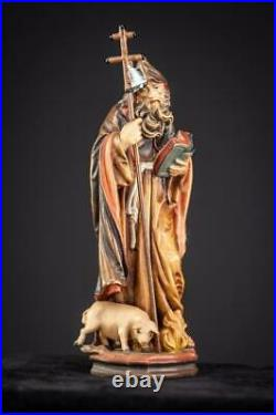 St Anthony The Great Wood Sculpture Saint Italian Wooden Carving Vintage 9