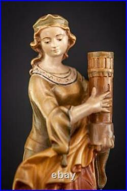 St Barbara Wooden Sculpture Italian Saint Wood Figure Vintage Religious 7.7