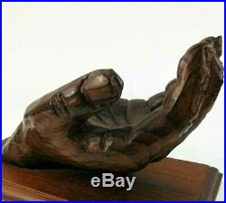 Stunning Vintage Hand Carved Wood Sculpture of Human Hand Incredible Detail OOAK