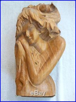 Stunning vintage hand carved wood MADONNA sculpture Don Freedman for Interlude
