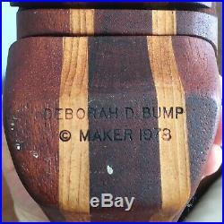Super Rare DEBORAH D. BUMP Vintage Signed Carved Wood Trinket Box Sculpture